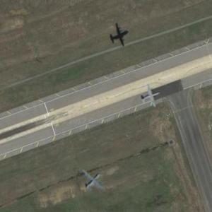 Two C-130 in flight at Little Rock AFB (Google Maps)