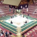 Sumo wrestling in progress at the Ryōgoku Kokugikan