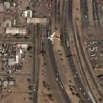 Airplane over I-17 in Phoenix