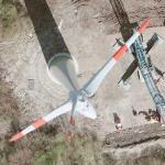 Three windmills being assembled (Google Maps)