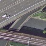 Highway, railway, aqueduct, bridges, canals and towpath (Google Maps)