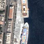 Cruise ships docked in Messina, Sicily (Google Maps)