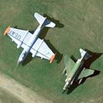WB-57 and F-4 Phantom on static display at Burlington International (Google Maps)