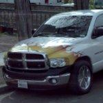 Flames on a Dodge truck