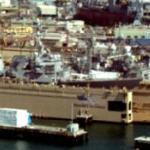 Arleigh Burke class destroyer in floating drydock (StreetView)