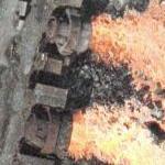 Recently dumped, still glowing blast furnace slag