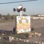 Race car on a pole