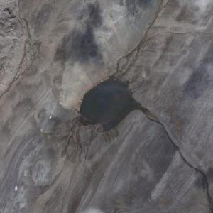Tsar Bomba Crater - largest nuke detonated (Google Maps)