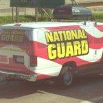 National Guard van and trailer