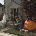 Yard full of Halloween decorations