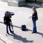 Television reporter at work