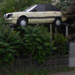 Old car stilted in a garden