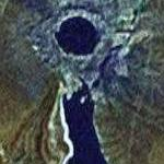 Lake Chagan, created by a Soviet nuclear test explosion (Google Maps)