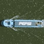 Pepsi ad on roof of boat