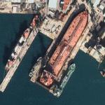 Huge tanker in drydock