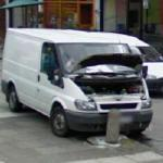 Collision with a concrete post (StreetView)