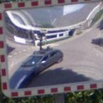 Google car in a mirror.