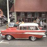 Shortened 57 Chevy Wagon at Fuller's Coffee Shop (StreetView)