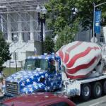 Stars and Stripes painted truck mixer