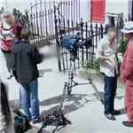 Film crew outside Mozart's house