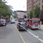 Fire brigade in action (StreetView)