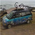Van with aquarium paint-job