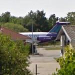 Air Belfast plane outside former brewery (StreetView)