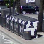 Cow recycling bins (StreetView)