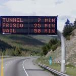 Tunnel- 7 min, Frisco- 25 min, Vail- 50 min