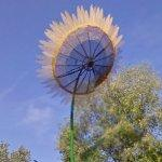 Satellite dish decorated like a sunflower