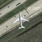 Airplane departing DFW (Google Maps)