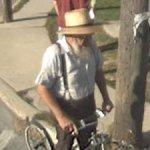Amish man on a bike
