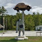 Gorilla holding a VW Beetle (StreetView)