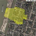Homes swept away by Industrial Levee Breach (Google Maps)