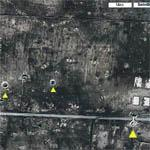 Giant Running Man near bomb craters (Google Maps)