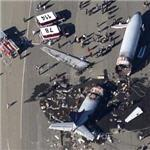 Rescue squads at crashed airliner (Google Maps)