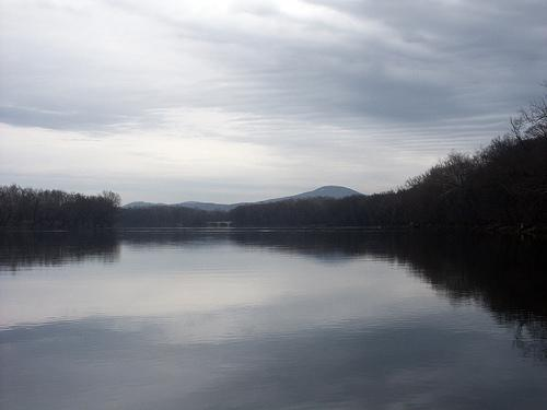 Looking North along the Potomac River, with the Monocacy Aqueduct and Sugarloaf Mountain in the Distance, March 2006