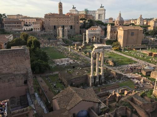 Standing on the top of the Palatine hill looking down towards the temple and Forum Romanum.