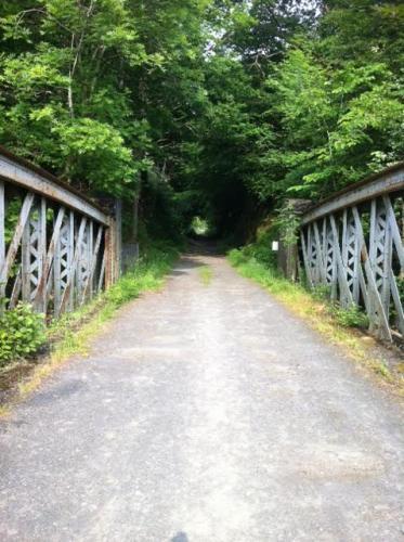Standing on the bridge.