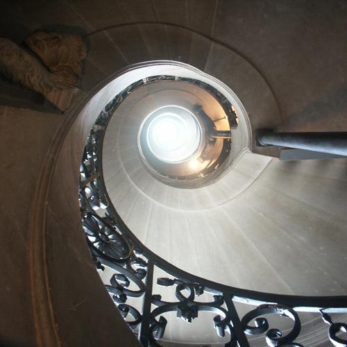 Interior spiral staircase, Palace of Versailles, September 2005