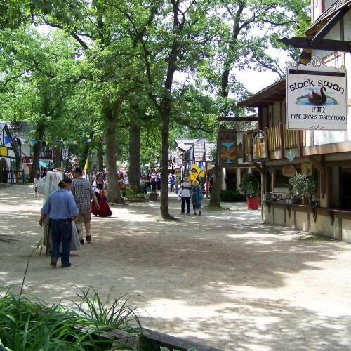 At the Bristol Renaissance Faire, most of the shops and food stands are located in a wooded area