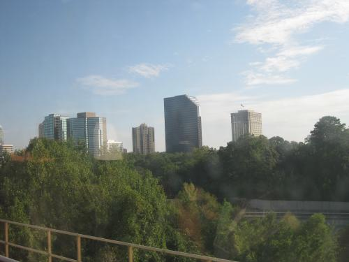 Portion of the skyline seen from a MARTA train