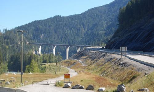 Kicking Horse River Bridge and Trans Canada Highway.
