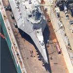 Stealth ship USS Independence (LCS-2) in drydock (Google Maps)