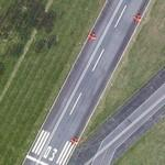 Red Arrows aerobatic team at take off (Google Maps)