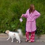 Walking the Dog in Pajamas (StreetView)