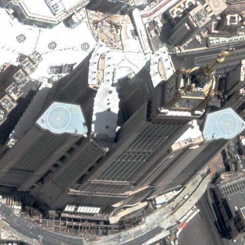 Abraj Al Bait Towers (tallest hotel in the world) (Google Maps)