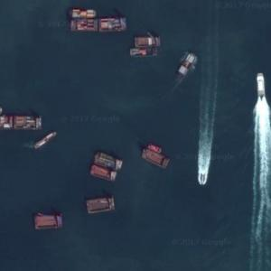 Dredging barges in Hong Kong (Google Maps)