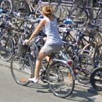 Bicycling past bicycles (StreetView)