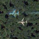 Small jet in flight (Google Maps)